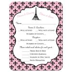 Pink, black and white polka dots Night in Paris themed Bat Mitzvah RSVP response reply enclosure card insert with Eiffel Tower, fleur-de-lis, and Star of David.