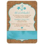 Rustic turquoise blue beach theme Bat Mitzvah invite with burlap, ribbon, bow, starfish, sea shells, clam shell, and Star of David.