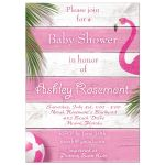 Bright Pink Flamingo Baby Shower Invitations