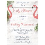 Coral Flamingo Baby Shower Invitations