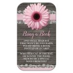 Bring a Book Cards - Pink Daisy Lace Rustic Wood