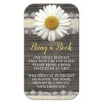 Bring a Book Cards - Daisy Burlap and Lace Rustic Wood