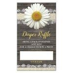 Diaper Raffle Cards - Daisy Burlap and Lace Rustic Wood