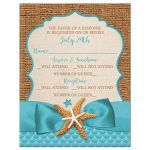 Rustic turquoise blue beach theme Bat Mitzvah RSVP reply response enclosure card insert with burlap, ribbon, bow, starfish, sea shells, and clam shell.