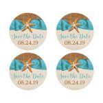 Rustic turquoise blue beach theme Bat Mitzvah save the date stickers or envelope seals with burlap, ribbon, bow, and two star fish.