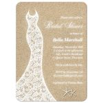 Wedding Dress Beach Bridal Shower Invitation