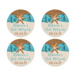 ​Rustic turquoise blue beach theme Bat Mitzvah favor stickers or envelope seals with burlap, ribbon, bow, and two star fish.