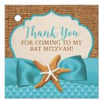 Square, turquoise blue beach theme Bat Mitzvah favor tag with rustic brown burlap, linen, ribbon, bow, two star fish with a pre-drilled hole.