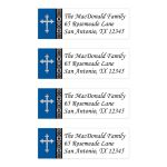 Personalized royal blue, black, and white damask address mailing labels with an ornate silver Cross.