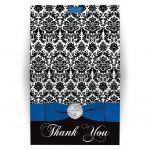 Royal blue, black and white damask confirmation, first communion, baptism thank you card with a printed ribbon, bow, jeweled brooch with silver cross and a blue dove.