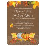 Fall Autumn Leaves Watercolor Wedding Invitation