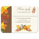 Autumn Fall Leaves Wedding RSVP Card