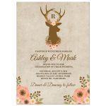 Floral Deer Antler Rustic Wedding Invitations