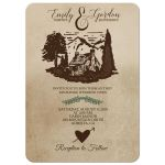 Log Cabin Rustic Wedding Invitation