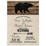 Rustic Black Bear Lodge Theme Wedding Invitation