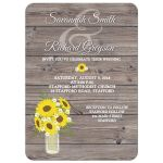 Sunflower Mason Jar Barn Wood Wedding Invitation