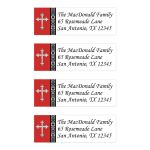 Personalized red, black, and white damask address mailing labels with an ornate silver Cross.
