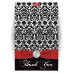 Red, black and white damask confirmation, first communion, baptism thank you card with a printed ribbon, bow, jeweled brooch with silver cross and a red dove.