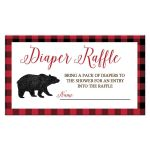 Lumberjack Black Bear Boy Baby Shower Diaper Raffle Card