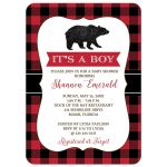 Lumberjack Bear Hunter Boy Baby Shower Invitation