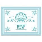 Beach bat mitzvah rsvp cards with clam seashell and starfish