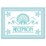 Modern beach bat mitzvah reception cards featuring a clam seashell flanked by waves and birds