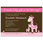 Pink Giraffe Girl Baby Shower Invitation