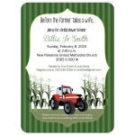 Red Tractor Bridal Shower Invitation
