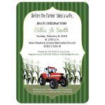 Red Tractor Bridal Shower Invitation