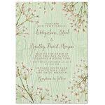 Rustic mint green wood (woodgrain) baby's breath wedding invitation front