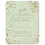 Rustic mint green wood (woodgrain) baby's breath wedding RSVP card front