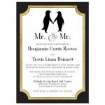 Black, White, and gold foil Mr. & Mr. gay wedding invitation with a pair of penguins.