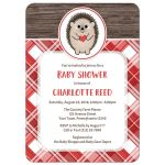 Baby Shower Invitations - Rustic Hedgehog Heart Red Plaid