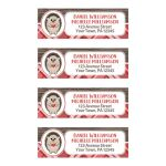 Address Labels - Rustic Hedgehog Heart Red Plaid