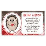 Bring a Book Cards - Rustic Hedgehog Heart Red Plaid