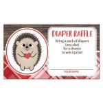 Diaper Raffle Cards - Rustic Hedgehog Heart Red Plaid