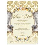 Gold Damask Vintage Wedding Invitation