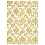Gold Damask on Ivory Wedding Invitation
