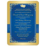 Royal blue and gold floral golden 50th wedding anniversary invitation with ribbon, bow, jewels, joined hearts, and glitter.