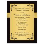 Best black, white, and gold 40 year retirement party invite for a woman with gold flowers and gold ribbon.