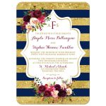 Monogrammed navy blue, gold, burgundy wine, white striped wedding invitation with watercolor flowers and garland.