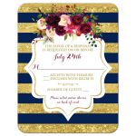 Navy blue, gold, burgundy wine, white striped wedding response enclosure card inserts with watercolor flowers and garland.