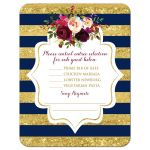 Navy blue, gold, burgundy wine, white striped wedding RSVP enclosure card insert with watercolor flowers and garland.
