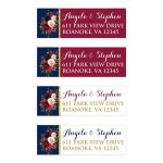 Navy blue, burgundy, gold, and white watercolor flowers and foliage wedding return address mailing labels.