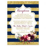 Navy blue, gold, burgundy wine, white striped wedding reception and accommodations enclosure card insert with watercolor flowers and garland.