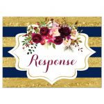 Navy blue, gold, burgundy wine, white striped wedding response enclosure card insert with watercolor flowers and garland.