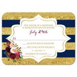 Navy blue, gold, burgundy wine, white striped wedding RSVP card with watercolor flowers and garland.