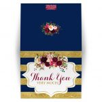 Navy blue, gold, burgundy wine, white striped wedding thank you card with watercolor flowers and garland.