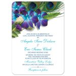 Blue Dendrobium orchid bouquet and peacock feather wedding invitation front