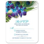 ​Blue Dendrobium orchid bouquet and peacock feather wedding RSVP card front